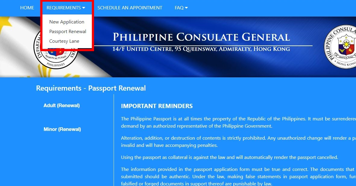How to Apply for Appointment for Passport Renewal in Hong Kong